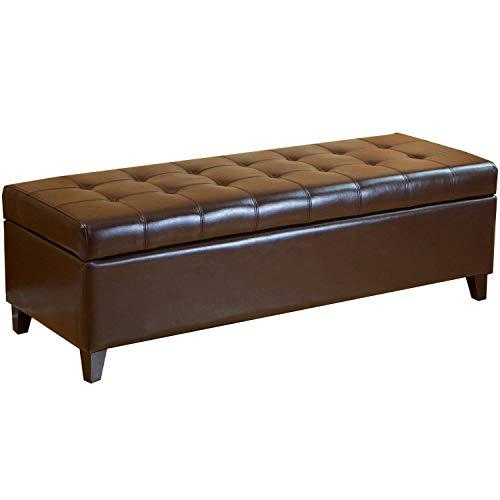 Deco De Ville Lift Top Bonded Leather Ottoman Storage Bench, 51