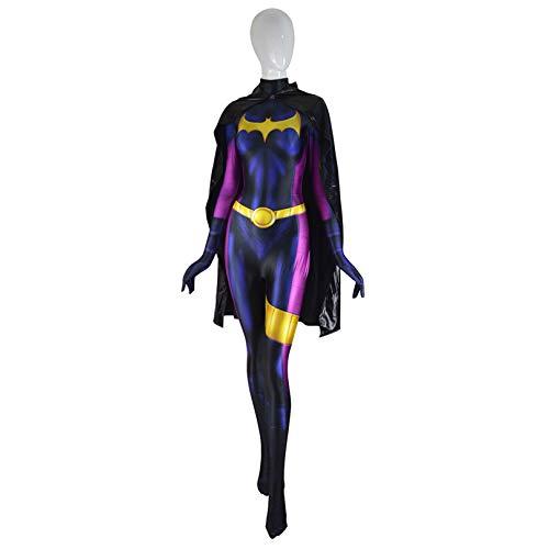MODRYER Mujer Batman Halloween Costume Fancy Dress Aficionados Traje Cosplay Película Body con Todo Incluido Medias Capa Los Niños Funcionamiento Mono Conjunto,with Cloak-Adults/XXXL 185~190cm