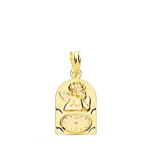 Medalla de Bebé Ángel y reloj capilla Oro Amarillo 18K - Grabado personalizado incluido