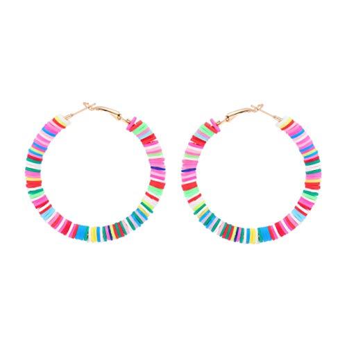 QIN Pendientes Circulares Circulares de Arcilla de Arcilla de Color Multicolor Mujeres Vintage National Soft Ceramics Hecho a Mano Joyería Femenina Regalo