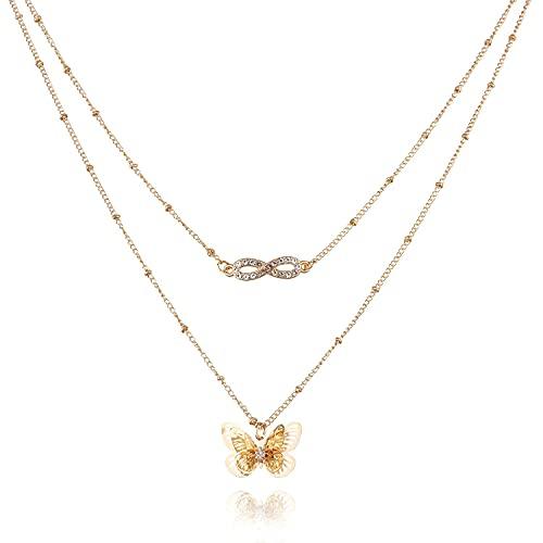 Denluns Collar largo ajustable de 2 capas con varias capas, estilo bohemio, para mujer, con varios colgantes, ajustable y con cadena para el cuello para mujer