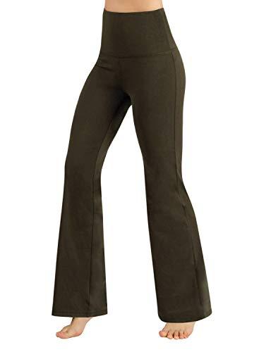 ODODOS Women's High Waist Boot-Cut Yoga Pants Tummy Control Workout Non See-Through Bootleg Yoga Pants,Olive,XX-Large