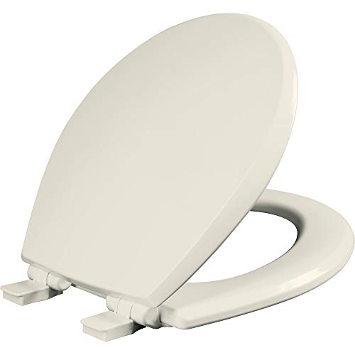Mayfair 847SLOW 346 Kendall Slow-Close, Removable Enameled Wood Toilet Seat that will Never Loosen, 1 Pack - ROUND - Premium Hinge, Biscuit/Linen