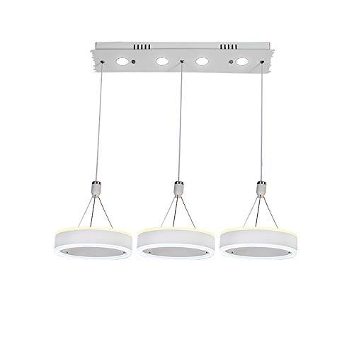 LG Snow Simple LED Moderno Redondo Blanco Hierro + Acrílico Dormitorio de Cadena Ajustable Salón Salón Restaurante Estudio Araña/Lámparas