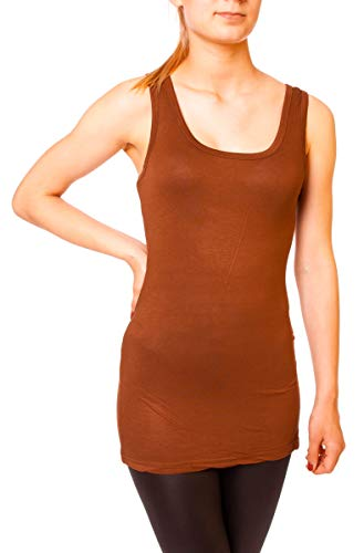 Easy Young Fashion Damen Basic Tank Top Träger Hemd Longtop Unterhemd Extra Lang Skiny Fit One Size Terracotta