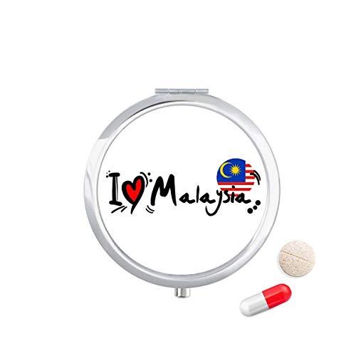 DIYthinker Ik hou van Maleisië Woord Vlag Liefde Hart Illustratie Reizen Pocket Pil Case Medicine Drug Opbergdoos Dispenser Spiegel Gift