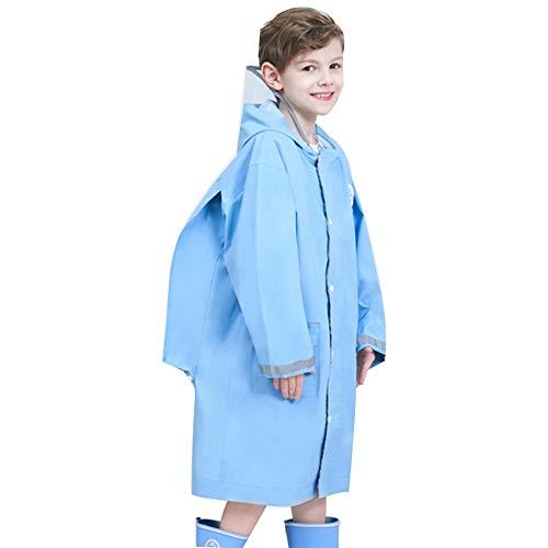 Veste Enfants Pluie - Enfants Raincoat Fille Garçon Cartoon Pluie Porter imperméable Poncho 1 Piece Costume de Pluie avec Capuchon Transparent et Bande réfléchissante (Color : Blue, Size : XL)