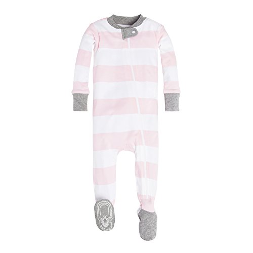 Burt's Bees Baby Girls Pajamas, Zip Front Non-Slip Footed Pjs, 100% Organic Cotton Baby and Toddler Sleepers, Pink Rugby Stripe, 18 Months US