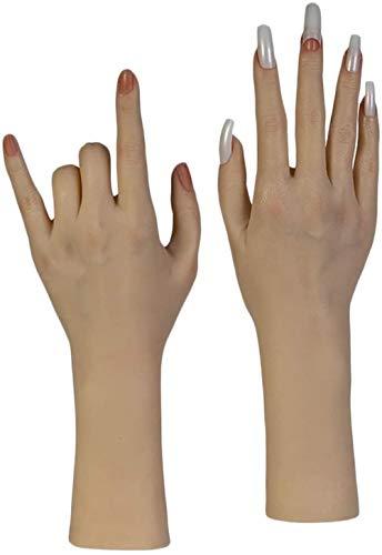 Mannequins Nail Art Souple Pratique Mains Silicone Souple Mains prothétiques Outils de manucure des Femmes - Doigts Peuvent être Bent