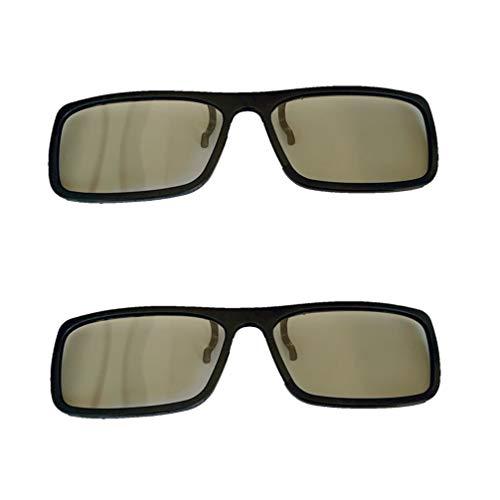 3Dメガネ2 + 1パック、3Dアイウェアクリップ、パッシブ円形偏光、キッズ&アダルト用、リアル3Dモードムービー用、シネマ使用可能、(IMAXは使用不可)0.72mm