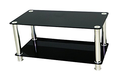 Premier - Tavolino e supporto in vetro per TV LCD/LED/PLASMA fino a 42'', colore: Nero