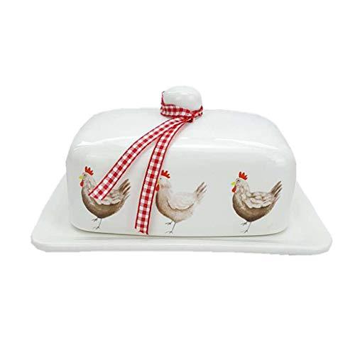 Plato de mantequilla Plato de mantequilla de cerámica con tapa, Bandeja Postre nórdica Mantequilla Caja del queso Box Deli Cocina Bandeja Preservación Home Box plato cuadrado platos de mantequilla con