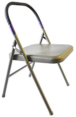 Pune Yoga Chair - Tan Chair with Purple Wrap