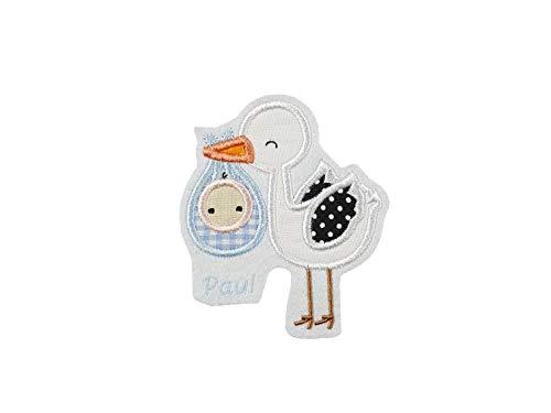 Applikation Storch mit Baby und Namen, zur Geburt, Taufe