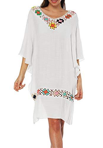 Crystallly Handgehäkeltes - Vestido de verano para mujer, estilo bohemio, mangas de murciélago con cuello en V y rodilla de algodón para vacaciones y playa