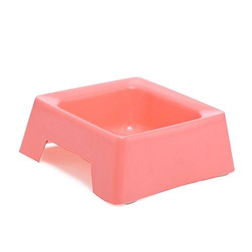 Pet Online Cuenco de mascota cuenco cuadrado antideslizante de plástico para perros y gatos, 16.6 * 11 * 4.5cm, rosa