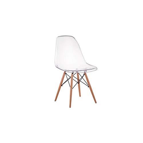 Cadeira Charles Eames Eiffel Wood - Policarbonato Transparente