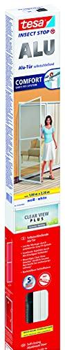 tesa Insect Stop ALU COMFORT Fliegengitter für Türen - Insektengitter mit Aluminium-Rahmen & Clear View - Tür Insektenschutz - Weiß, 100 cm x 220 cm