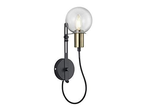 Applique murale LED à hauteur réglable en noir mat/bronze - Verre transparent - Culot E14 - 38,5 cm x Ø 12 cm