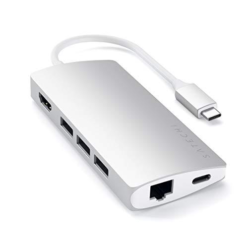 SATECHI Adattatore Multiporta V2 Alluminio 4K HDMI (30 Hz), Gigabit Ethernet, Porta di Ricarica USB-C, Lettori Schede SD/Micro, 3 Porte USB 3.0 - Compatibile con MacBook PRO, MacBook (Argento)
