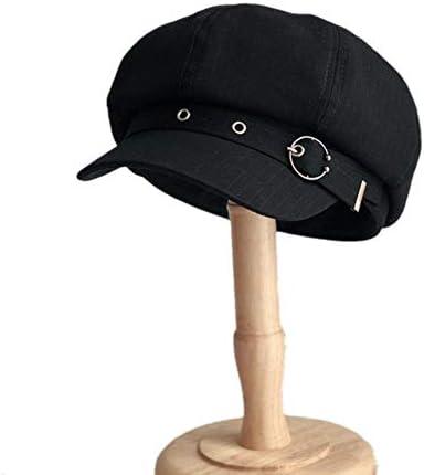 YDY Frauen Achteckige Kappe Barett gestreift Retro Franz/ösisch K/ünstler Hut Maler achteckige H/üte Schwarz Braun Casual Caps