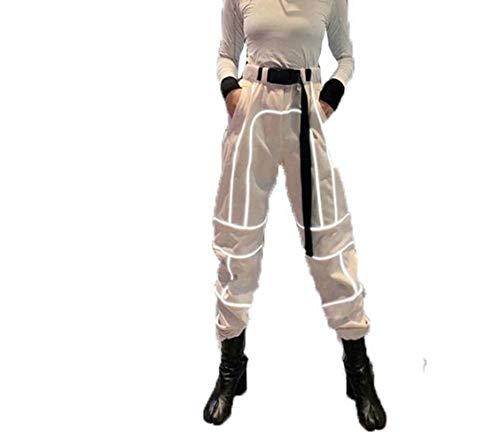 JUSTTIME reflecterende casual overalls straat en wijd vrouwen broek X-Large kaki