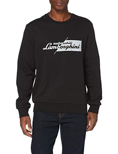 Automobili Lamborghini Herren Felpa Slashed Logo Pullover, Nero, XL