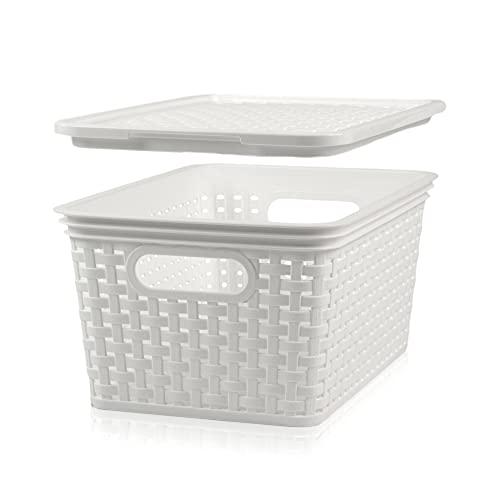 Hausfelder Aufbewahrungskorb mit Deckel Set - Aufbewahrungsbox im Korb Rattan Design (6 x 5l., Weiß)