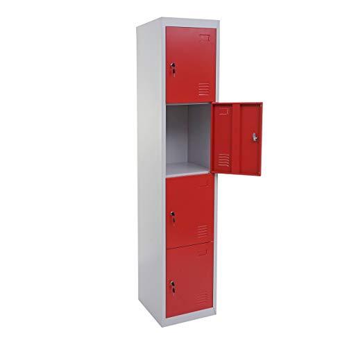 Mendler Schließfach Boston T163, Schließfachschrank Wertfachschrank Spind, Metall 180x38x45cm ~ rot