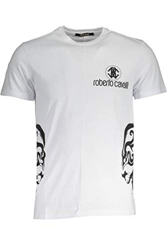 Roberto Cavalli GST653 T-Shirt Maniche Corte Uomo Bianco White XL