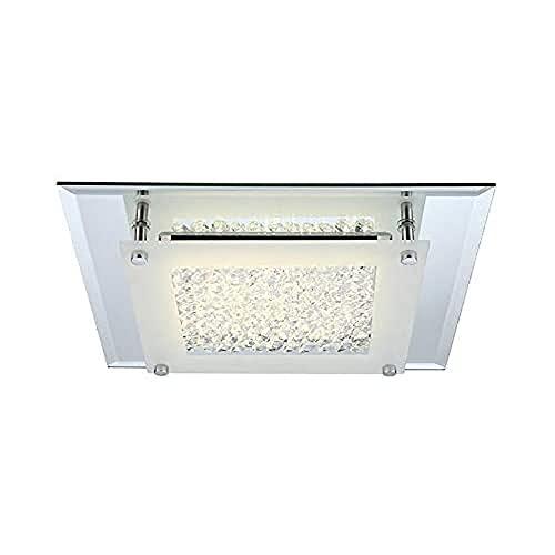 12 Watt LED Deckenlampe Deckenleuchte Beleuchtung Lampe Chrom Glas Kristalle klar Globo 49300