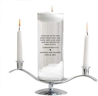 Personalized Floating Wedding Unity Candle - Personalized Wedding Candle - Includes Stand - Corinthians