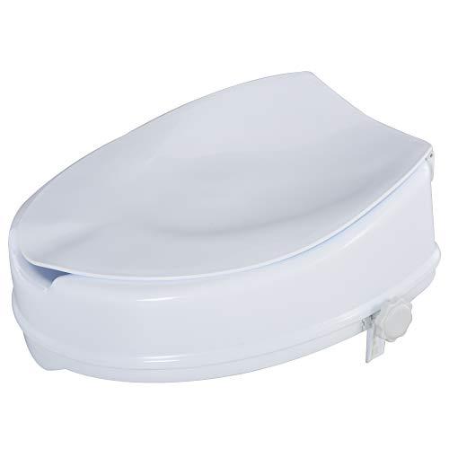 homcom Rialzo per WC Larghi 31-36 cm in PP Bianca con Coperchio e Sedile Alto 10 cm, per Anziani e Disabili Max 130 kg