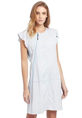 khujo Damen Kleid ARJUNA kurzes Sommerkleid mit asymmetrischem Reißverschluss und Ösendetails
