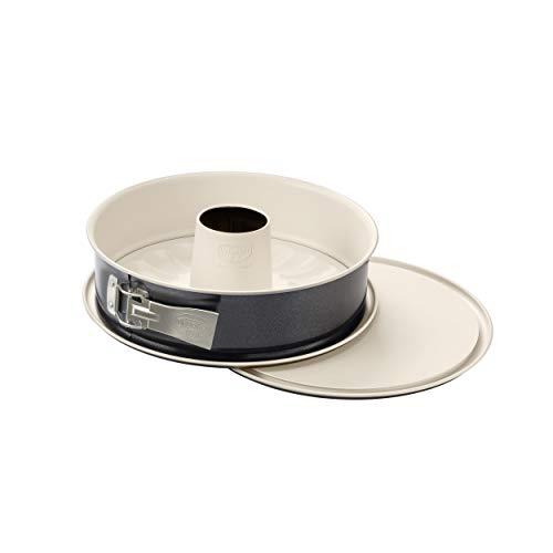 Dr. Oetker Springform mit Flach- und Rohrboden Ø 26 cm BACK-TREND, Kuchenform mit 2 Böden, Stahl-Backform mit keramisch verstärkter Antihaft-Beschichtung (Farbe: creme/anthrazit), Menge: 1 Stück