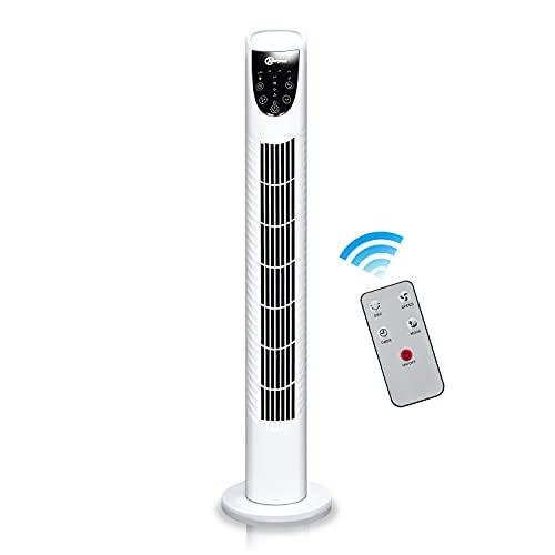 Karpal Turmventilator mit Fernbedienung Sehr leise 78cm hoch 3 Geschwindigkeitsstufen 7.5H Timer 75°oszillierend Extra Stabil Standfuß Energieeffizienter Tower Fan Farbe:Weiß