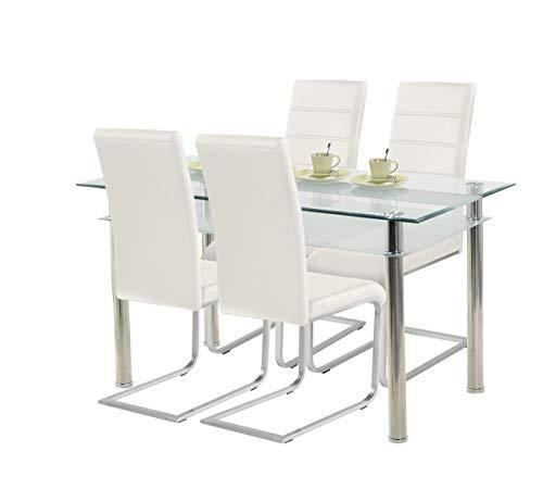 agionda ® Esstisch Kay Jake 140 x 80 Stuhlset Jan Piet ® 4er Satz mit hochwertigem PU Kunstleder Weiss