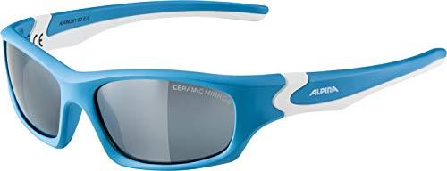 ALPINA Unisex - Kinder, FLEXXY TEEN Sonnenbrille, cyan-white matt, One size