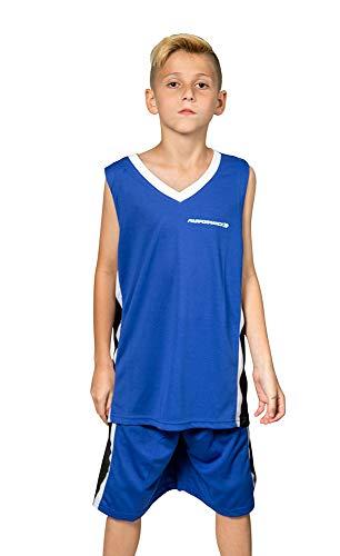 Premium Boys' Basketball Jerseys Shirt Sports Shirts and Athletic Shorts Set for Youth Kids Age 6-12 Team Uniforms,Medium Blue