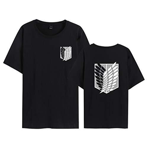 PowerfulTop Attack on Titan 3D Shirt per Donna Uomo Maglietta Manica Anime Cotone T-Shirt Shingeki No Kyojin Attacco dei Giganti Manica Top (bBlack,M)