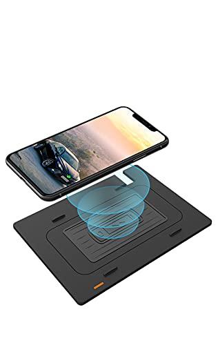 Paobiy El cargador inalámbrico del coche es aplicable para Toyota Camry 2018-2021 panel de accesorios de la consola central, 10W Qi carga rápida teléfono cargador pad 3 bobinas, para iPhone y Samsung.