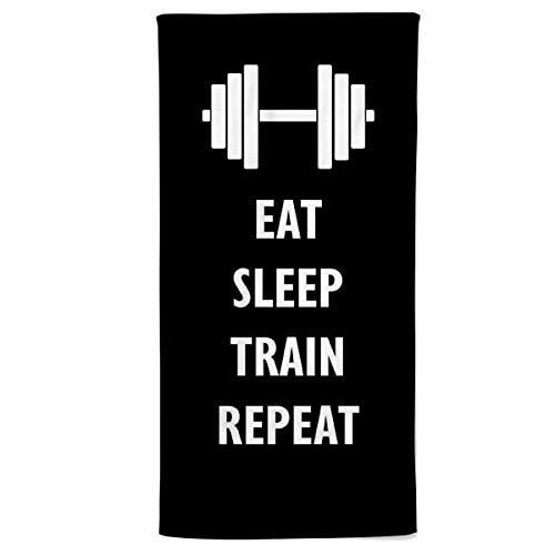 Power Towel das Coole Fitness & Sport-Handtuch mit Einer Botschaft| Verschiedene Motivations-Quotes| Größe 50 cm x 100 cm | POWERTOWEL Handtuch Mikrofaser Baumwolle (Eat Sleep Train Repeat B/W)