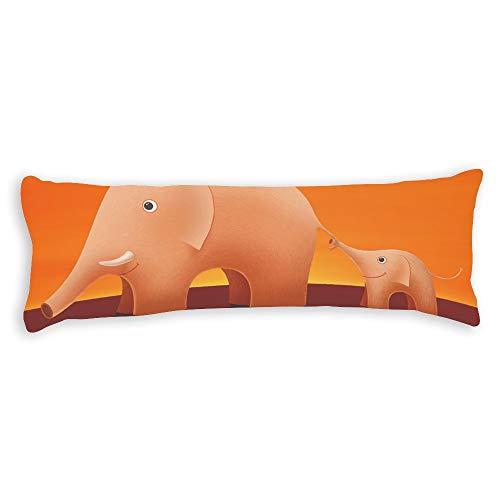 Fhdang Decor Elephant Body Pillow Case Soft Cotton Lavable en Machine avec Fermeture éclair Maternité Grossesse, Coton, Single 3ft (36'')