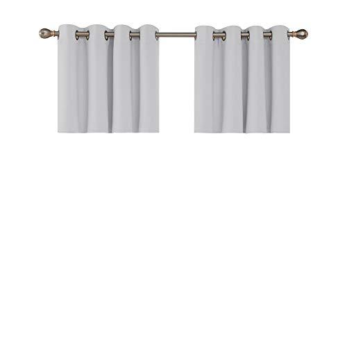 Deconovo Blickdichte Scheibengardine mit Ösen Schlafzimmer Halbgardinen Balkon 61x132 cm Grau Weiß 2er Set