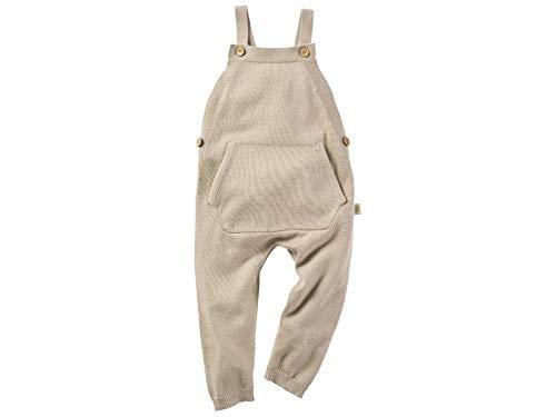 Bio Baby und Kinder Latzhose 100% Bio-Baumwolle (kbA) GOTS zertifiziert, Beige Melange, 74/80