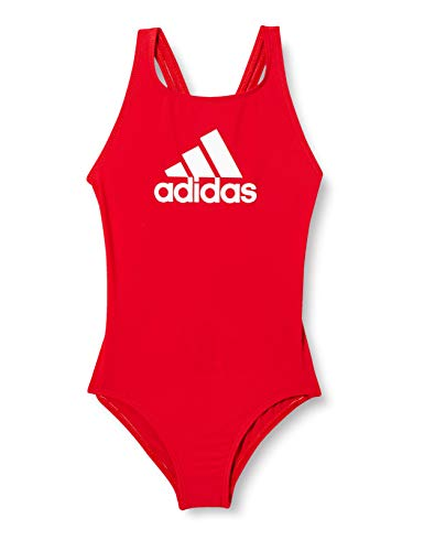 adidas Mädchen YA BOS Suit Swimsuit, Scarlet/White, 7-8Y