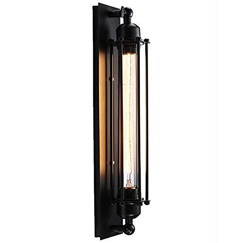 Elitlife Wandlampen Edison Vintage Retro Metall Cafés Antike Wandleuchter Tube-Käfig Loft Beleuchtung warmweiß mit T300 E27 Leuchtmittel Birne,Schwarz