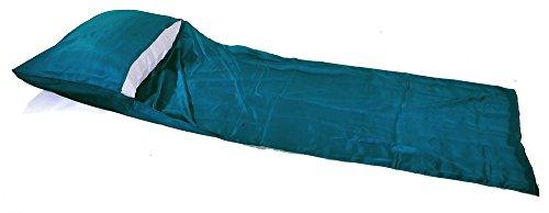 Marycrafts - Sábana de Viaje de Seda de Morera 100% Pura para Saco de Dormir, Peacock Blue