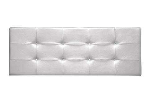 Cabecero de Cama tapizado en Polipiel y con Botones de Cristal. Altura 55cm. Color Blanco. para Cama de 90 (Medidas 100x55x8) Pro Elite.