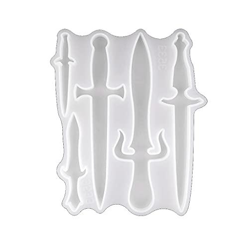 KORGALEY Molde de Resina para Cuchillo, Forma Diferente, Espada, Daga, Molde de Silicona epoxi para Halloween, Llavero de Cosplay, decoración, fundición DIY